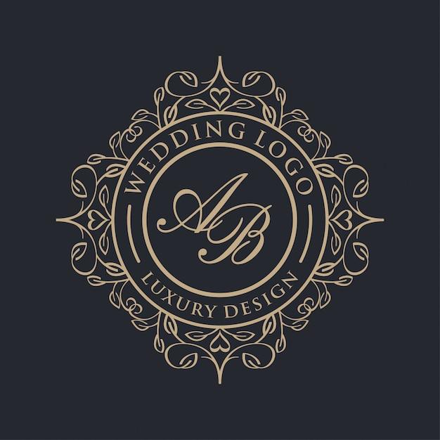 結婚式のための豪華なロゴ Premiumベクター