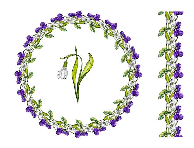 春の花と花の花輪。 Premiumベクター