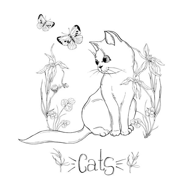 昆虫と野の花とグラフィックの猫 Premiumベクター