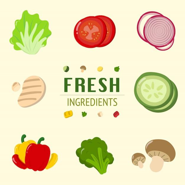 Салат из свежих ингредиентов контейнер томат лук овощи Premium векторы