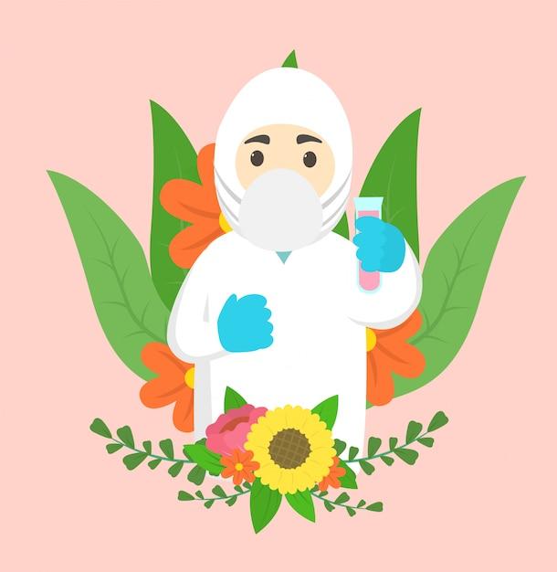 Исследователь коронавирусной вакцины алхимик пандемия спасибо с цветочным фоном Premium векторы