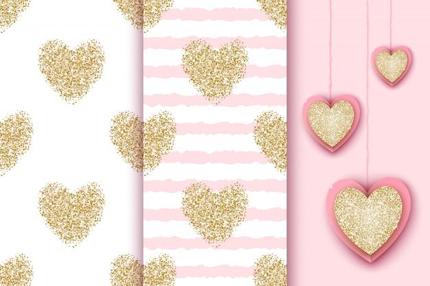 白とピンクのストライプの背景に金色のきらびやかな心、バレンタインの休日、誕生日、ベビーシャワーの現実的なハートのアイコンとのシームレスなパターンのセット。 Premiumベクター