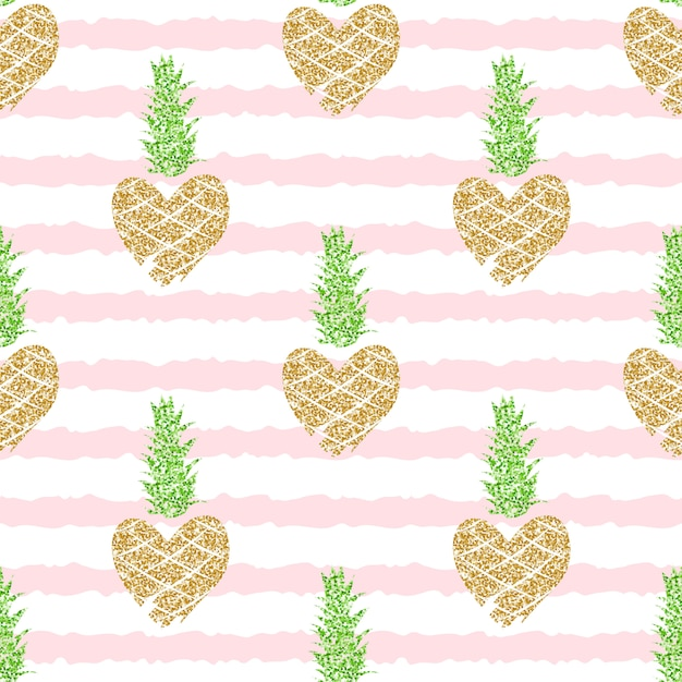 Редактируемые и обрезанные бесшовные модели с золотым блеском ананасов на розовом полосатом фоне для лета, романтический. Premium векторы