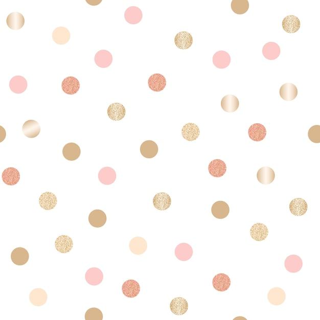 キラキラゴールドの水玉模様のシームレスパターン Premiumベクター