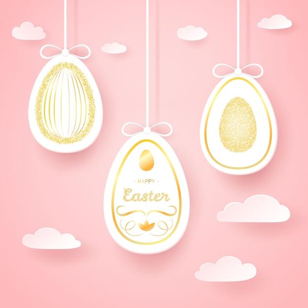 紙の黄金の卵とのシームレスなイースターの背景 Premiumベクター