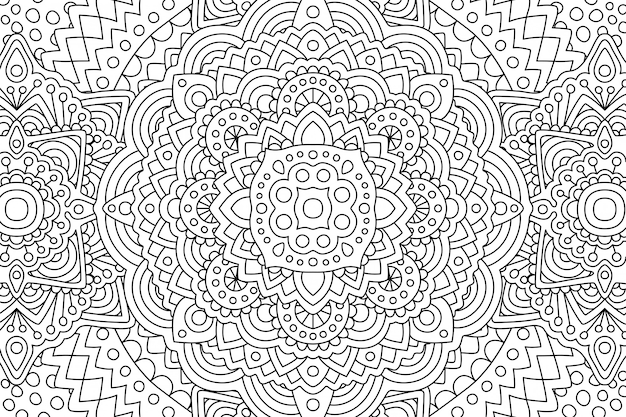線形パターンを持つ大人の塗り絵のページ Premiumベクター
