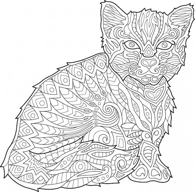 白い背景の上の猫と大人の塗り絵のページ Premiumベクター