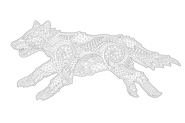 様式化されたオオカミの塗り絵の線形アート Premiumベクター