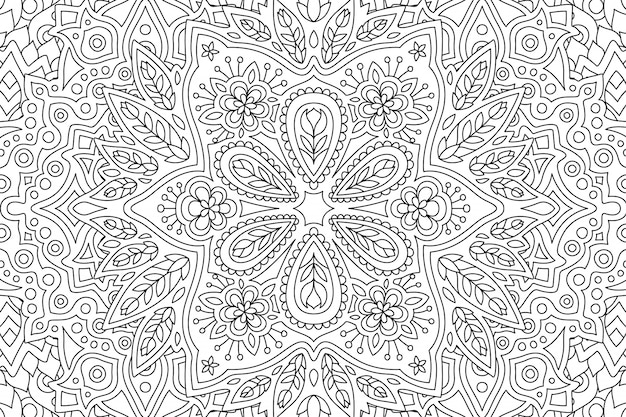 線形花柄の塗り絵のアート Premiumベクター