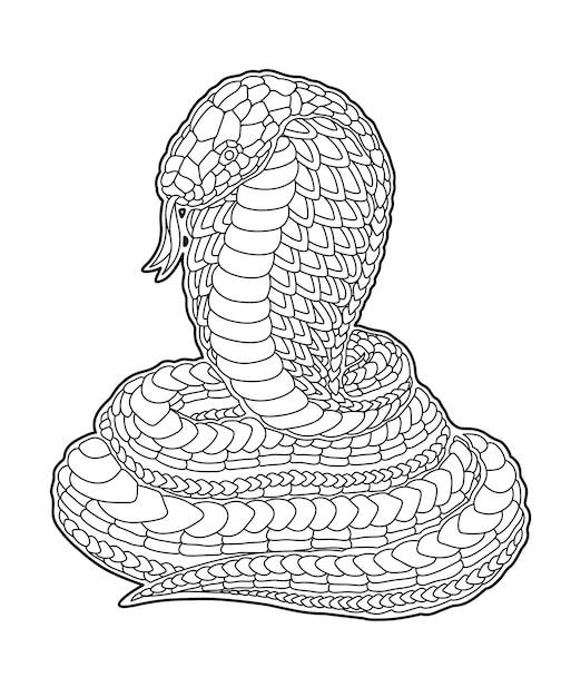 装飾的な漫画のコブラと塗り絵のページ Premiumベクター