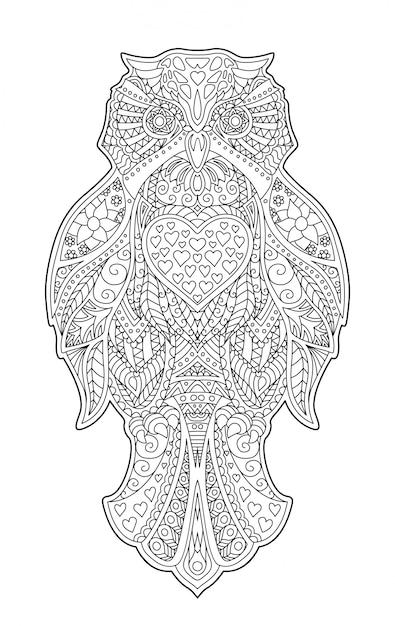 装飾的なフクロウと大人の塗り絵のページ Premiumベクター