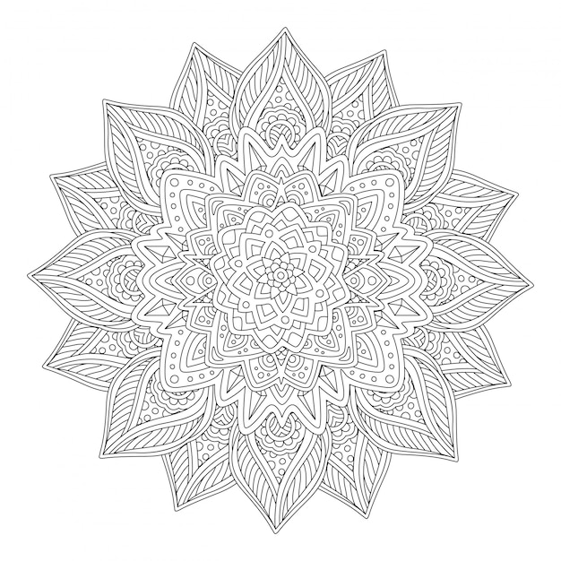 美しい定型化された花の塗り絵のアート Premiumベクター