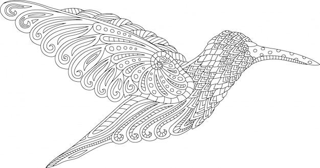 白い背景にハチドリとぬりえの本のページ Premiumベクター