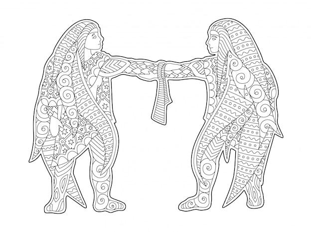 Монохромный рисунок со знаком зодиака близнецы Premium векторы