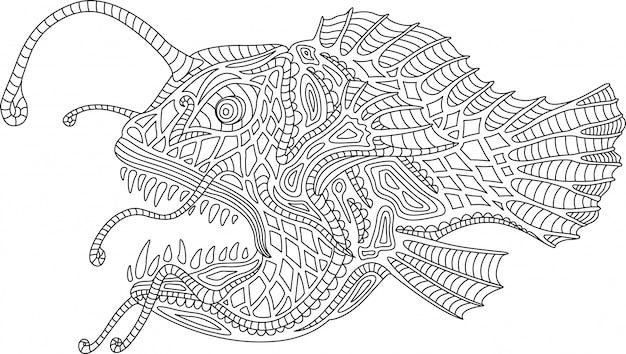раскраска с рыбкой на белом фоне вектор премиум скачать