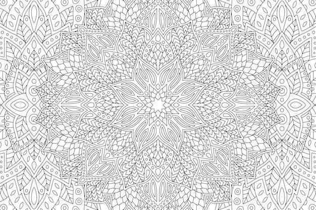 線形花柄の塗り絵のページ Premiumベクター
