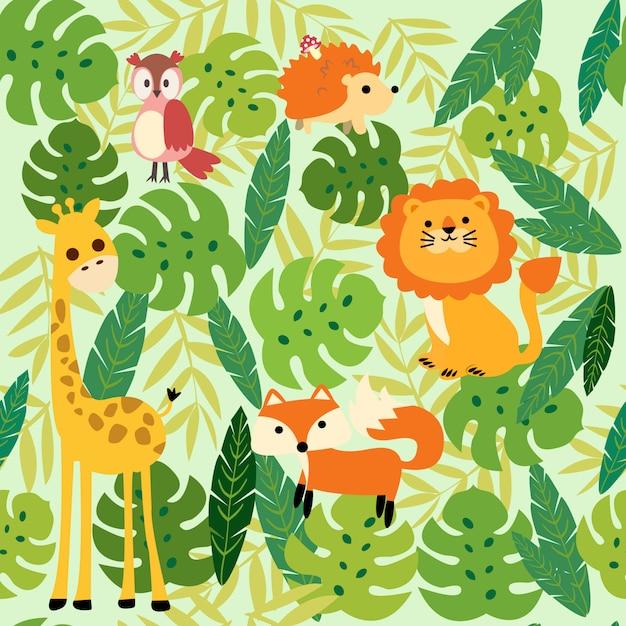 動物のジャングルのパターンを印刷 Premiumベクター