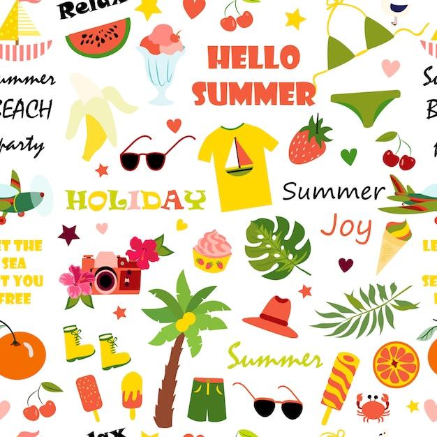 夏のシームレスパターン Premiumベクター