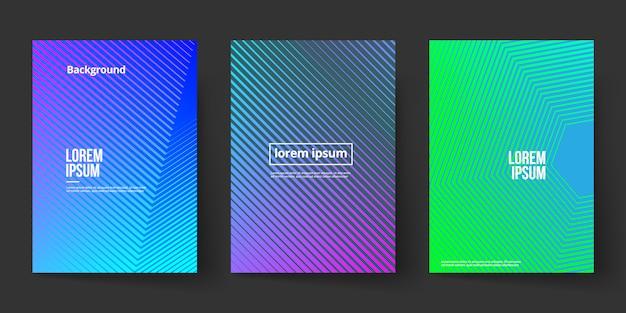 Шаблон страницы обложки градиента фона формы линии Premium векторы