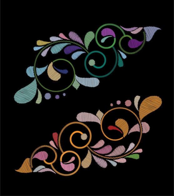 刺繍チューリップ花のデザイン Premiumベクター