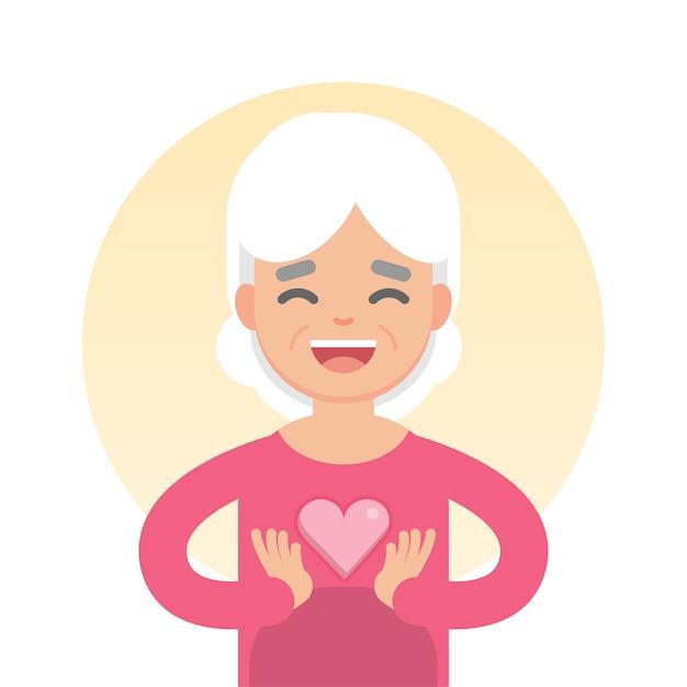 Счастливая симпатичная старшая женщина держа знак сердца, концепцию здравоохранения, иллюстрацию вектора характера. Premium векторы