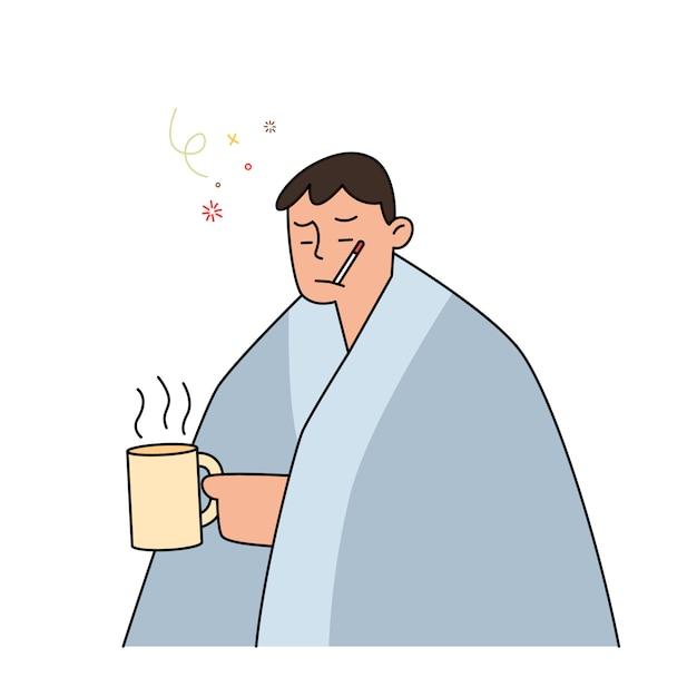 インフルエンザと熱いお茶を押しながら彼女の口に温度計を保持している毛布の下で風邪を持つ男、手描きスタイルのイラスト。 Premiumベクター
