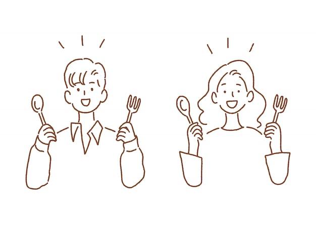 男と女のスプーンとフォークを保持 Premiumベクター