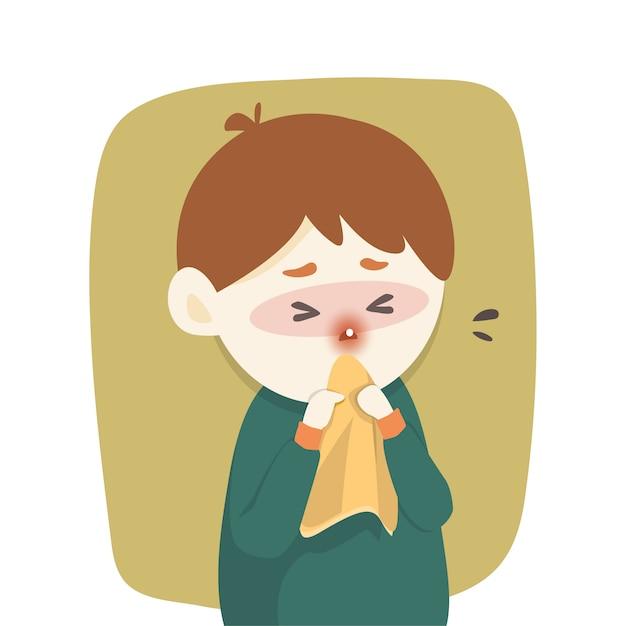 病気の男の子は鼻水 Premiumベクター