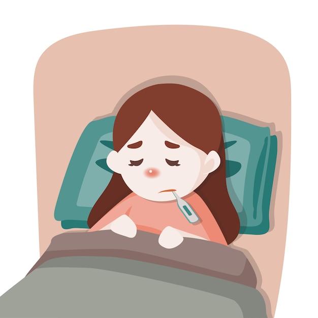 病気の子供の女の子がベッドで横になっています。 Premiumベクター