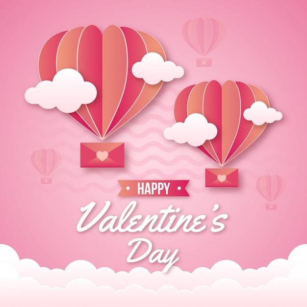 かわいい熱気球バレンタイン背景 Premiumベクター