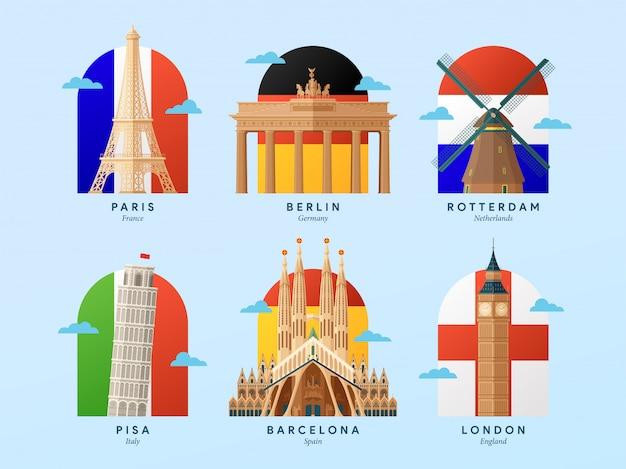 Достопримечательности европы с иллюстрацией флага страны Premium векторы
