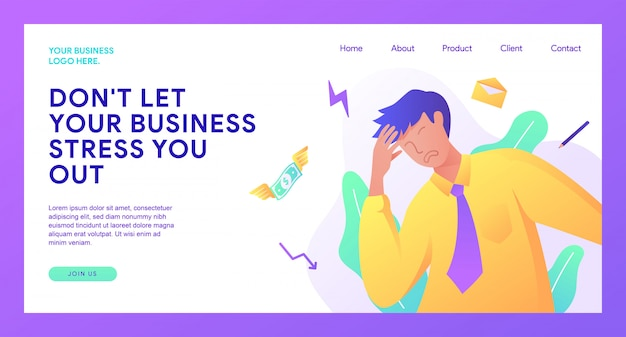 ビジネスのランディングページ Premiumベクター