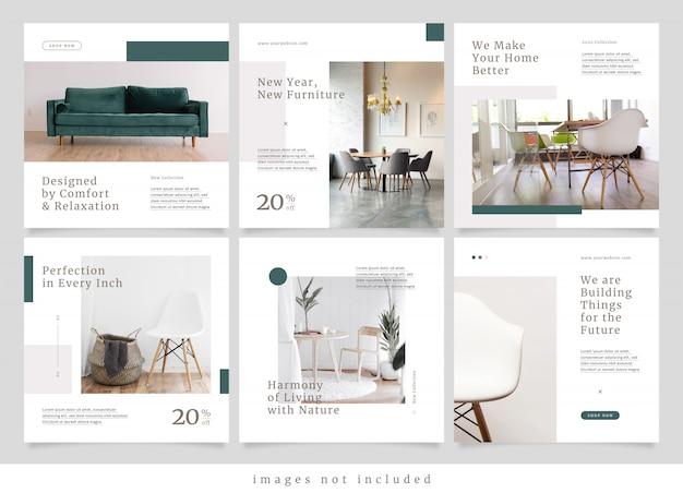 Минималистская современная мебель социальная медиа пост Premium векторы