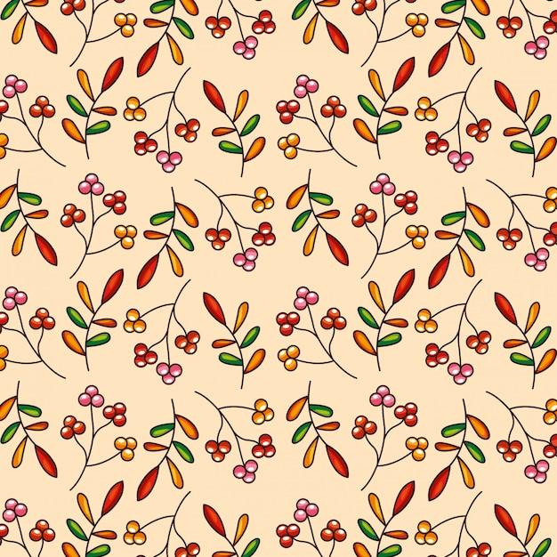 パターン紅葉と赤い果実 Premiumベクター