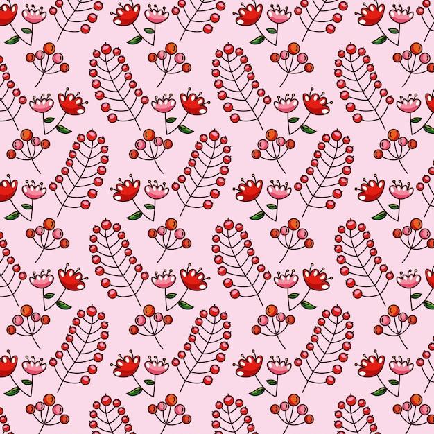 パターン紅葉の花と赤い果実 Premiumベクター