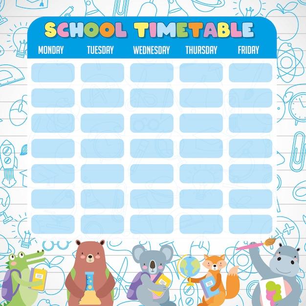 かわいい生徒の動物と学校の時刻表 Premiumベクター