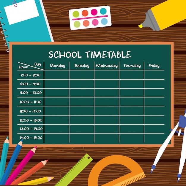 学用品のある学校の時刻表 Premiumベクター
