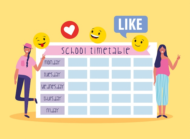 生徒と絵文字のある学校の時刻表 Premiumベクター