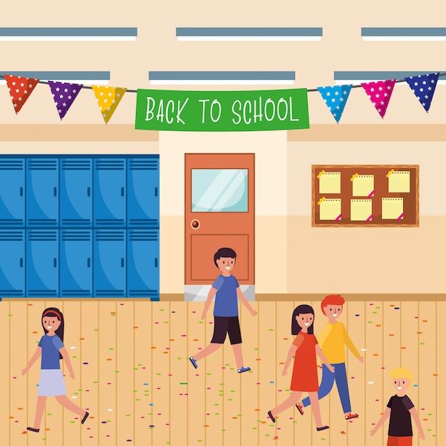 歓迎のペナントを持つ学校の生徒 Premiumベクター