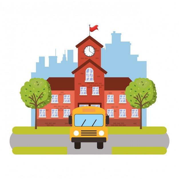Здание школы со школьным автобусом Premium векторы