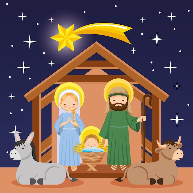 夜のキリスト降誕のシーン漫画 Premiumベクター