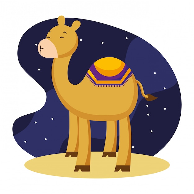 Верблюжьи мультфильмы в ночи. Premium векторы