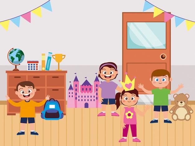 Счастливые студенты, улыбаясь, махнув рукой в школе Premium векторы