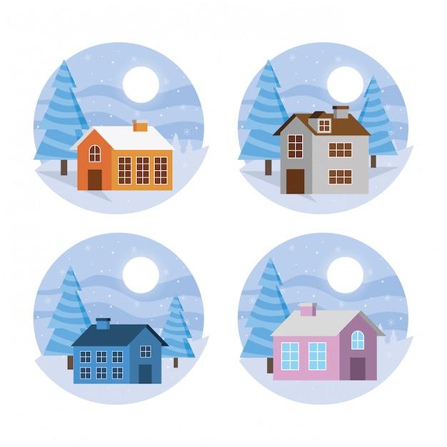 家セットのある冬景色 Premiumベクター