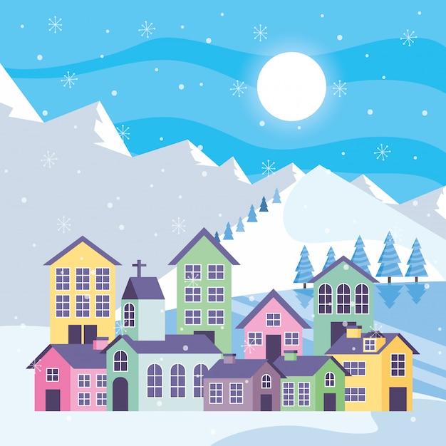 住宅と青い冬の山の風景 Premiumベクター