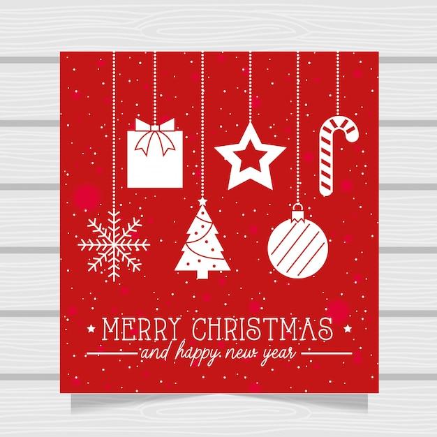 アイコンとメリークリスマスカード。図 Premiumベクター