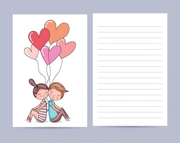 かわいいカップルの愛カード Premiumベクター