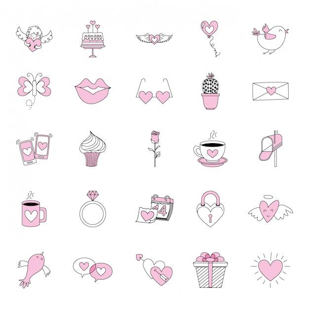 Установить любовные иконки Premium векторы