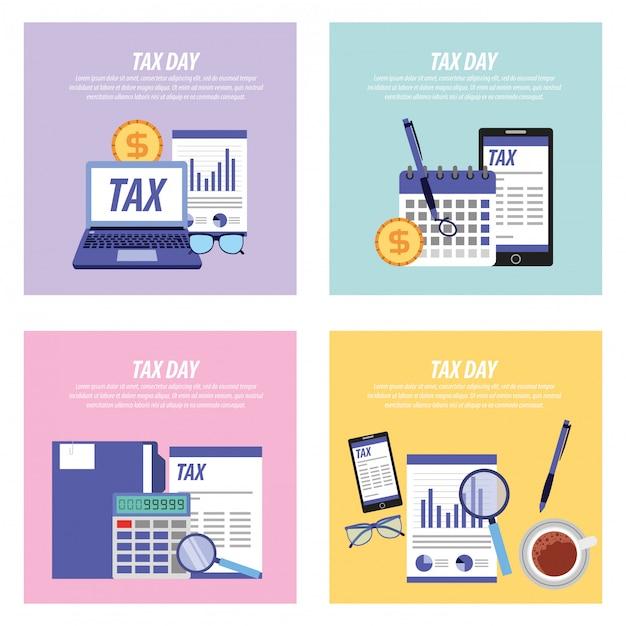 納税日カードコレクション Premiumベクター