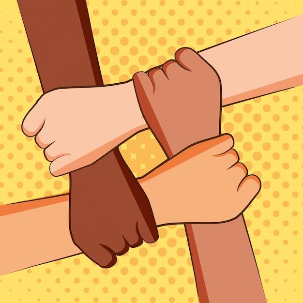 Четыре руки держат друг друга Premium векторы
